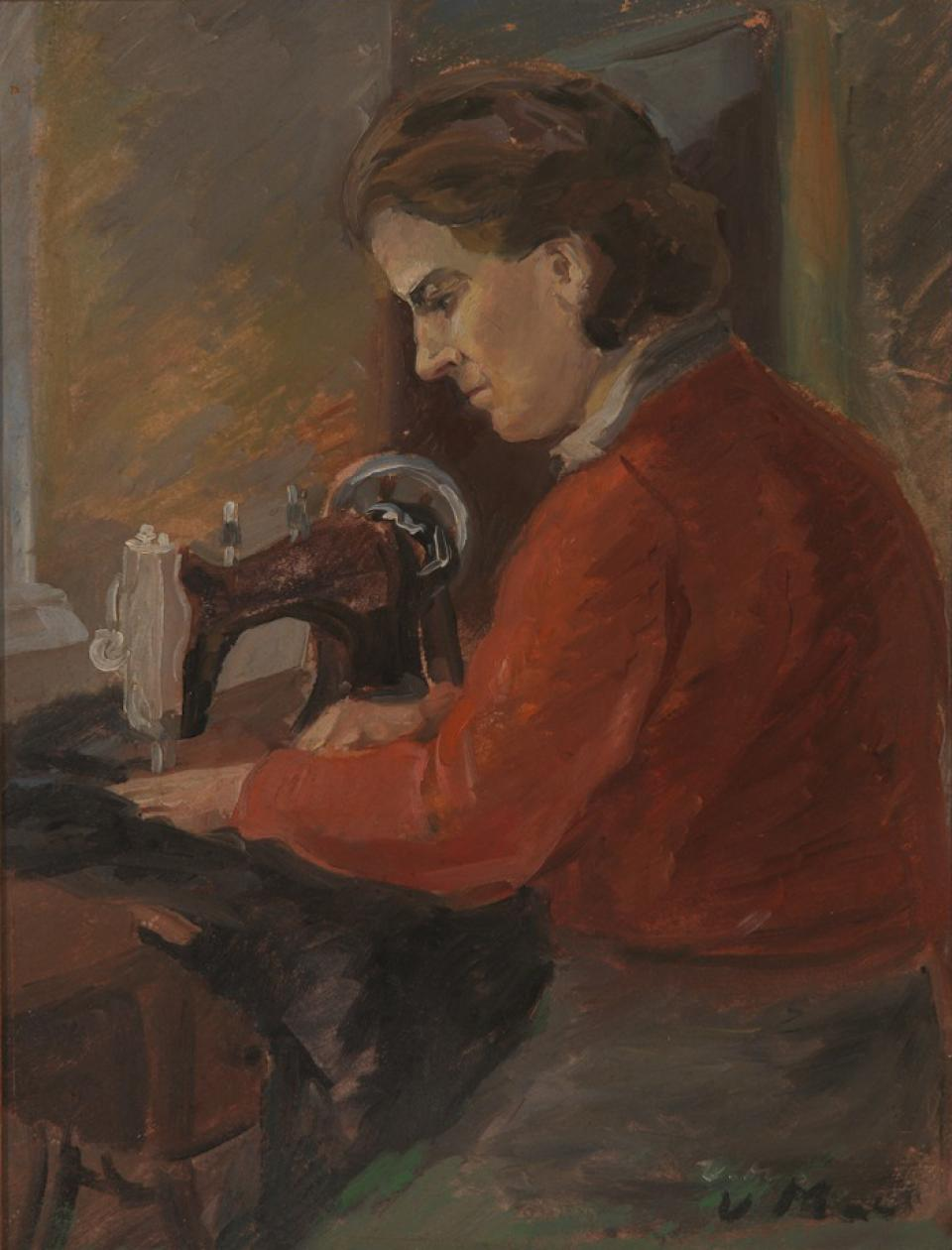 A Woman Sewing (Wife's portrait?)