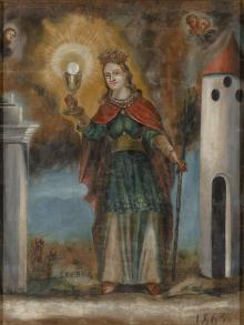 A two-sided picture St Barbara and the Crucifixion